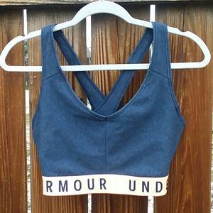 Under Armour sport bra large dark blue peach